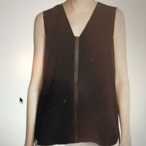 Vince Black Silk Leather-trimmed Sleeveless Top